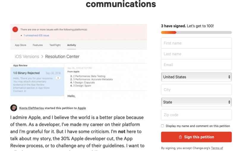 App Developer Launches Petition to Ask Apple to Save All Resolution Center Correspondence